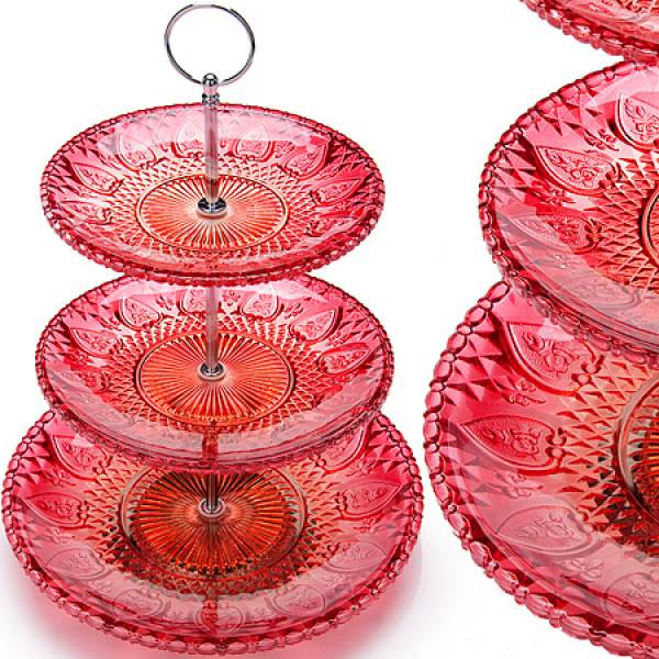 26760 Ваза конфетница 3х ярусная стекло MAYER&BOCH