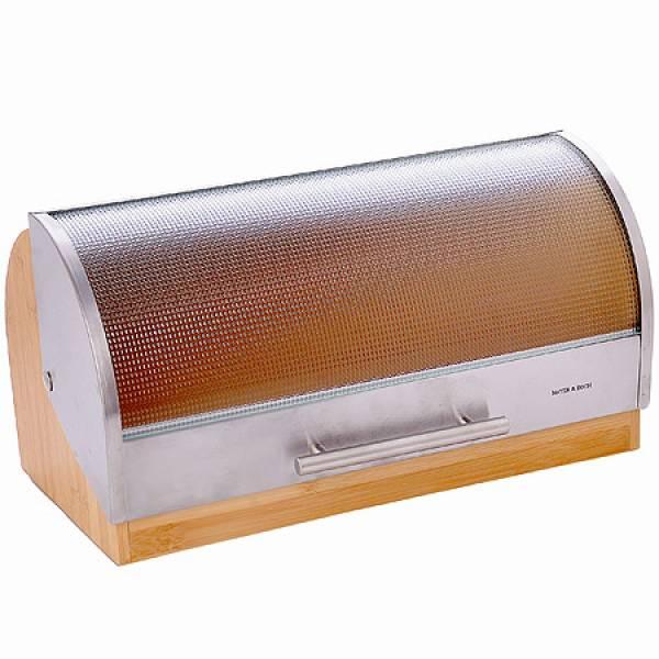 29974 Хлебница 40 см нерж.ст/стекло/бамбук MAYER&BOCH