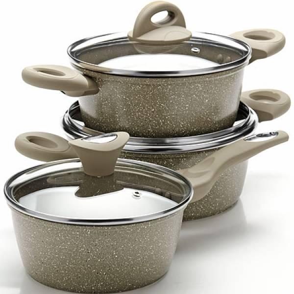 25077N Набор посуды 6пр с/кр2+2,6+3,3 л Мрам/крош