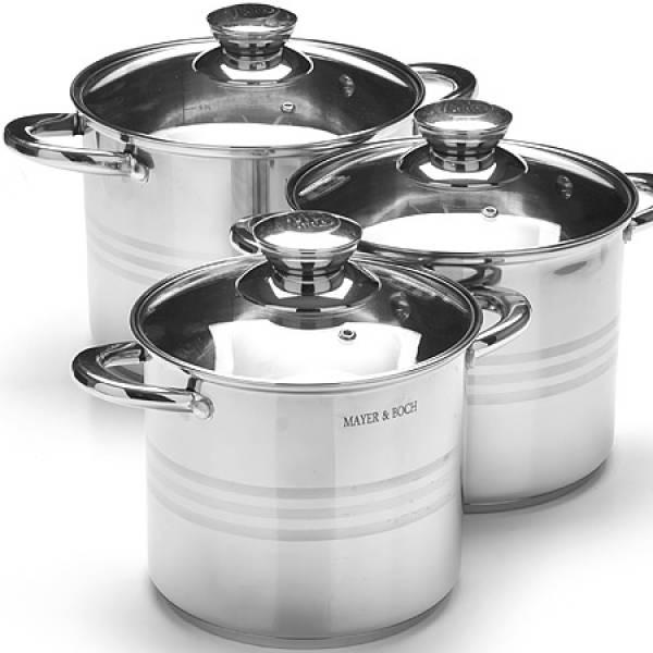 27556 Набор посуды 6пр 5,3+6,8+8,6л зол/р MAYER&BOCH