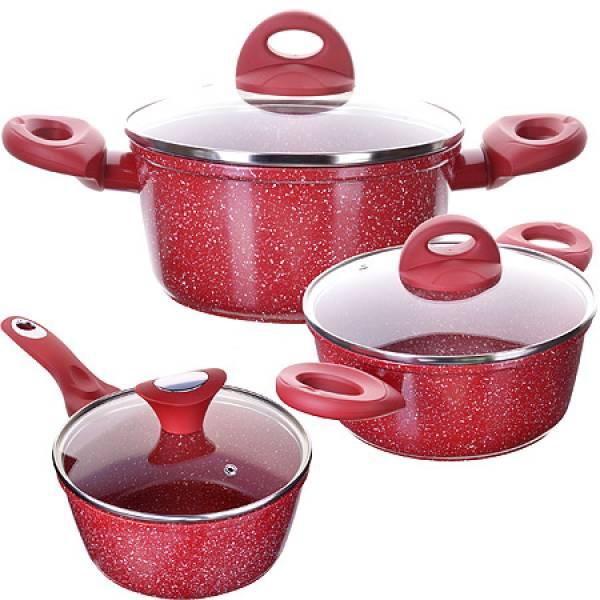 28344N Набор посуды 6пр с/кр 2+2,6+3,3 л Мрам/крош