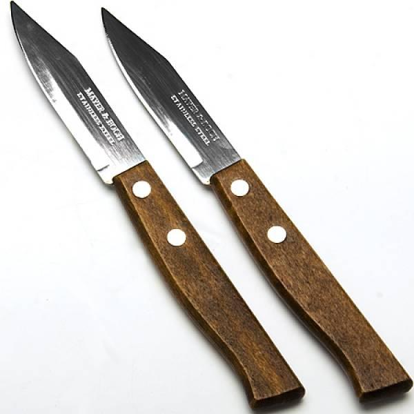 23429 Ножи 2штуки 7,6см. руч/ дерево на блистереМВ