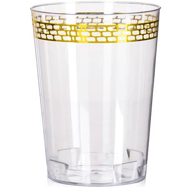 14331JE Стаканы пластик прозрачный золото6шт