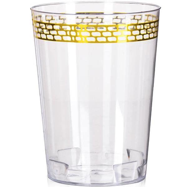 14331JE Стаканы пластик прозрачный золото6шт(х80)