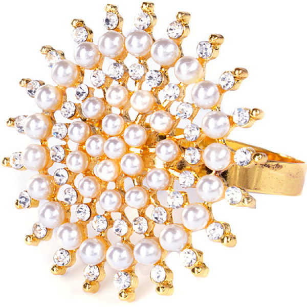 14476NS-2 Кольцо для салфеток золото жемчуг МВ(х72) 1 ШТУКА