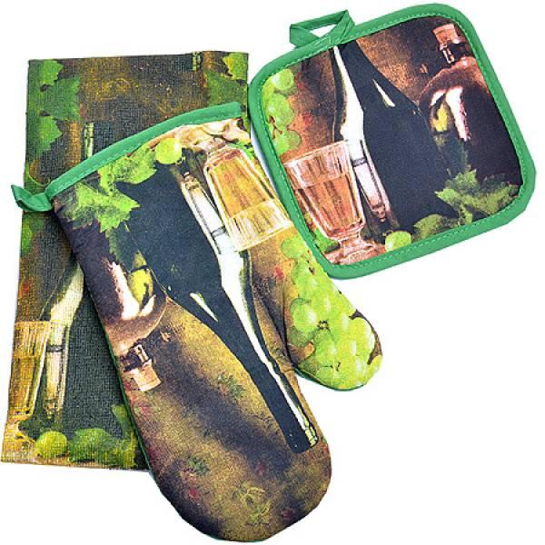 136-008 Набор перчатка+прихватка+полотенце