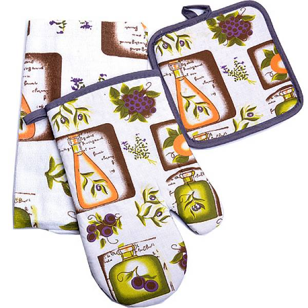 136-006 Набор перчатка+прихватка+полотенце