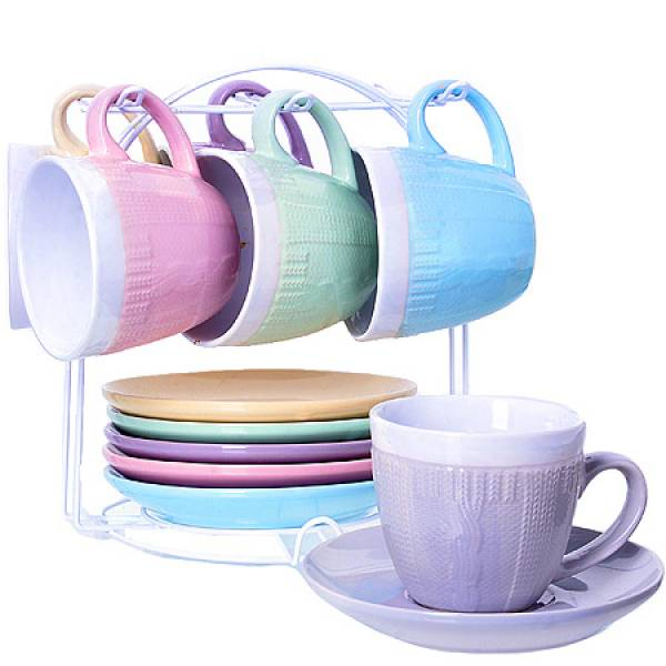 29900 Чайный сервиз 13пр 200мл на мет/подс LORAINE
