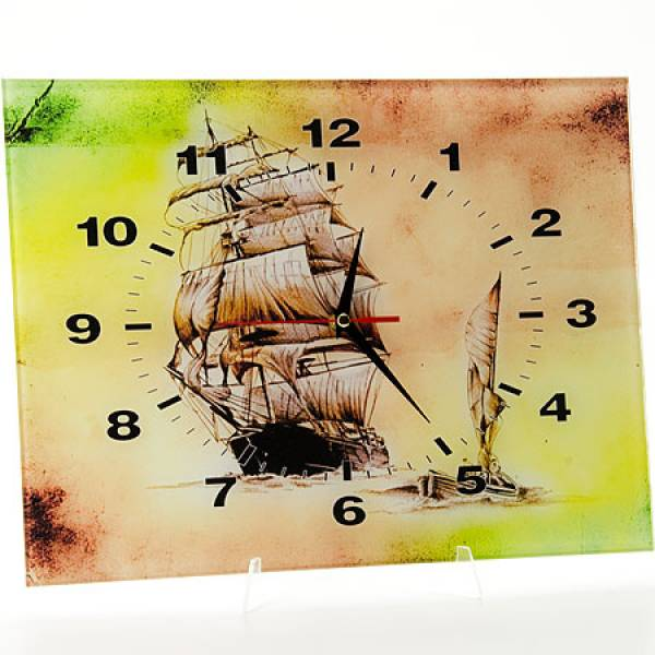 40512 Часы 30х40 стекло Корабль