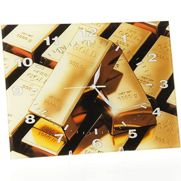 40511 Часы 30х40 стекло Золотые слитки